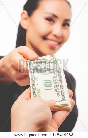 Young asian businesswoman with money