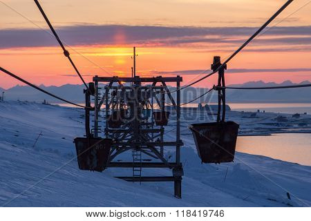 Old Cableway To Coal Transporting  In Longyearbyen, Spitsbergen (svalbard). Sunset.