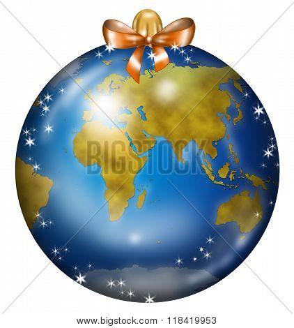 Earth Christmas ball