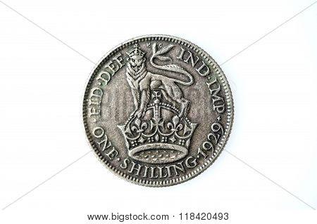 George V silver English shilling