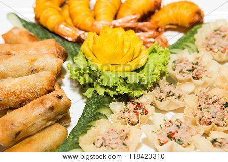 Appetizer of Thailand Mixed Crispy Rice NoodleDeep fried wrapped shrimps with noodlePor Pieer Tod (Thai Spring Roll )Yum Yum canned tuna poster