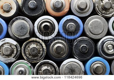 Lot Of Old Used Batteries