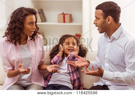 Unhappy Afro-american Family