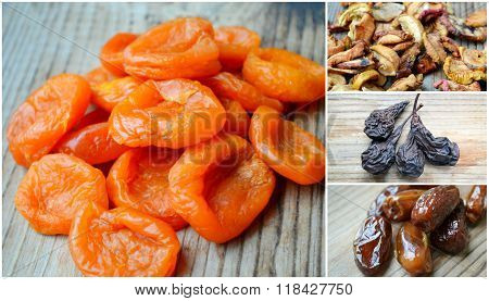 Collage of dried apricots, brown dates, dry apples and pears golden raisins