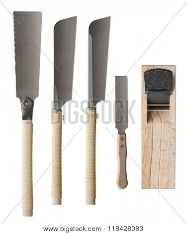 Traditional japanese saws and wooden hand plane. Tools for woodworking, carpentry and other manual crafts.