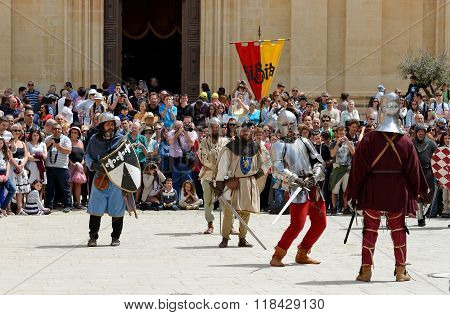 Mdina, Malta - April 19: The Mdina Medieval Festival And Tourists On April 19, 2015 In Mdina, Malta.