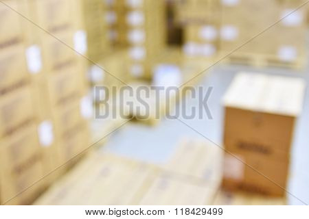 Blurred background warehouse. Abstract blurry warehouse storing.