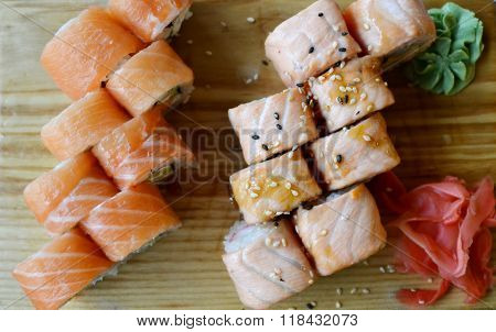 Delicious rolls and sushi with eel, salmon and cream cheese