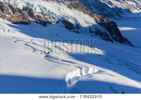 Close Up View Of Crevasse On Aletsch Glacier
