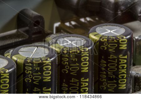 Close Up Of Capacitors On Printed Circuit Board
