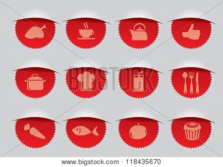 Red Seal With F&b Icons Vector Illustration