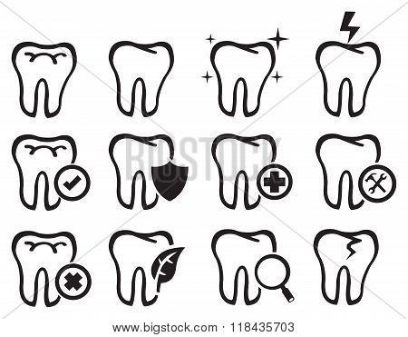 Black And White Molar Teeth Vector Icon Set