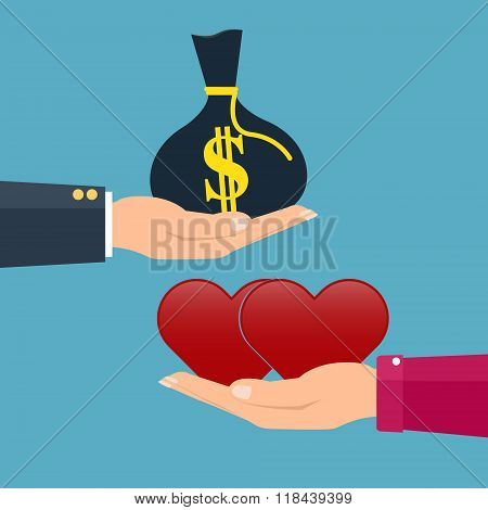 Man Giving Money To Woman Couple And Woman Giving Love Red Heart. Vector Illustration Conceptual Of