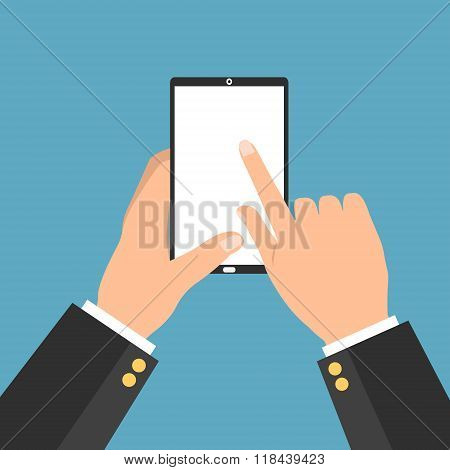 Business Man Hand Holding A Tablet Smartphone With Point And Touching A Blank Screen On Blue Backgro