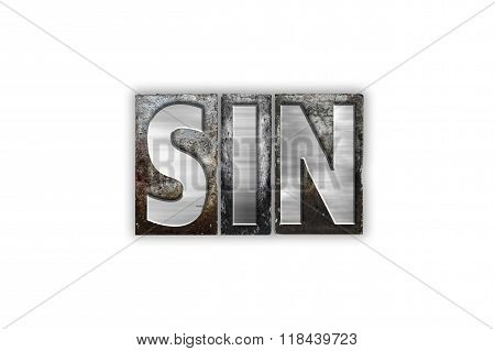 Sin Concept Isolated Metal Letterpress Type