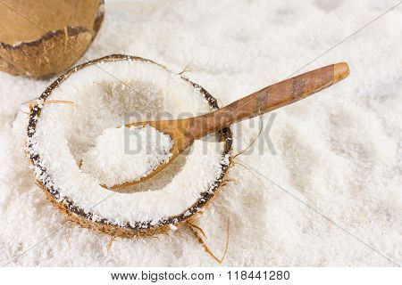 Halved Fresh Coconut And Coconut Powder