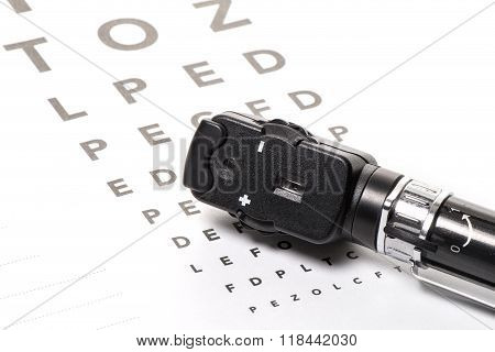 Ophthalmoscope Is On A Vison Test