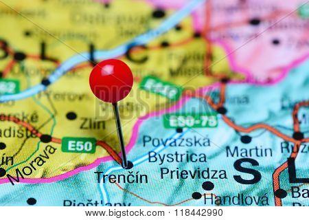 Trencin pinned on a map of Slovakia