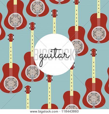 Folk String Instrument Resonance Guitar On A Colored Background