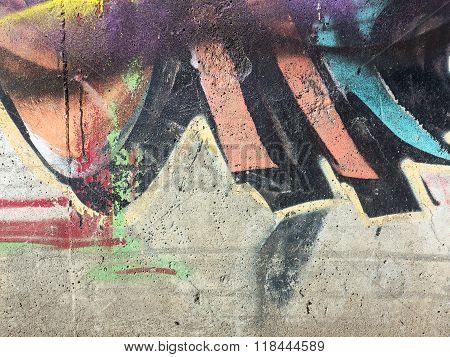 Zhitomir Ukraine - February 7: Detail of graffiti on a concrete wall. Grungy concrete surface with c