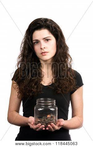 Woman Holding Money Jar
