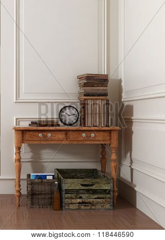 Crates and Baskets Underneath Old Wooden Table Topped with Antique Books and Clock in Modern Room with White Walls and Stylish Paneling. 3d Rendering.