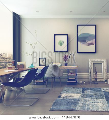 Open Concept Home Office Space with Eclectic Furnishings in Modern High Rise Apartment with Large Window and View of City. 3d Rendering.