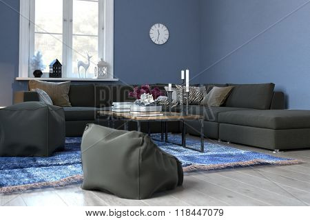 Cozy Blue Living Room with Sectional Sofa and Plush Bean Bag Chairs - Modern Blue Sitting Room Tastefully Decorated with Woven Rug, Clock and Coffee Table. 3d Rendering.