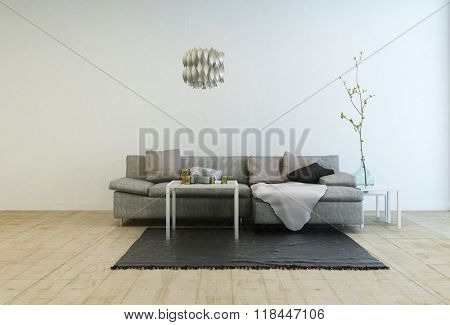 Contemporary Furniture in Spacious Living Room with Wooden Floor - Gray Sofa with Tables and Hanging Lamp in Large Living Room with White Walls and Copy Space