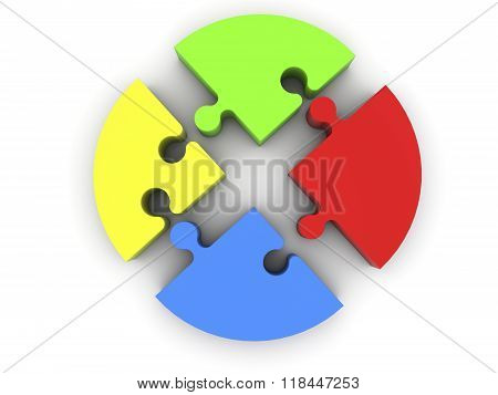Puzzle pieces in red,yellow,blue and green colors on white
