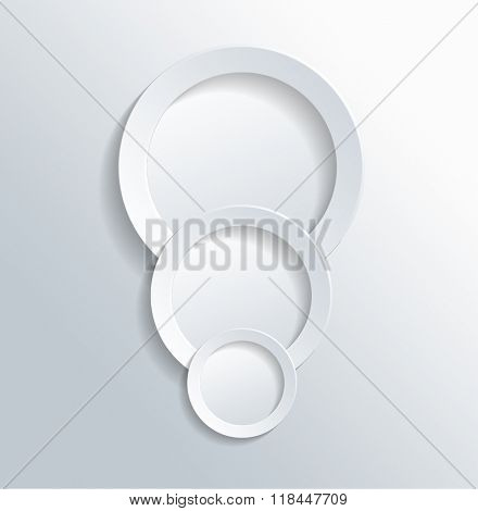 High Angle View of Three Plain White Paper Cut Out Rings on Gray White Gradient Background with Ample Copy Space. 3d Rendering.