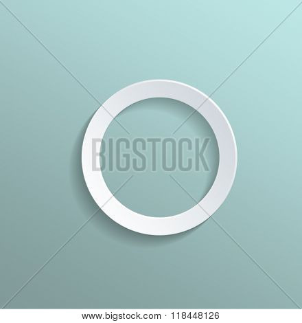 High Angle View of Plain White Paper Cut Out Ring on Sea Green Turquoise Pastel Colored Background with Ample Copy Space. 3d Rendering.