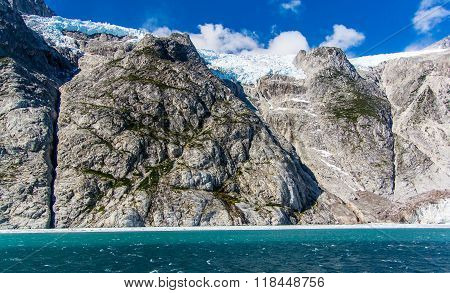 Cliffs And Glaciers At The Head Of Northwestern Fjord