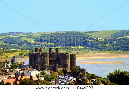 Historical Conwy Castle in North Wales