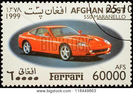 Sport Car Ferrari 550 Maranello On Postage Stamp