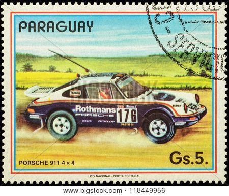 Rally Car Porsche 911 4X4 On Postage Stamp
