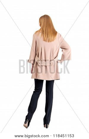 Girl In A Coat, White Background