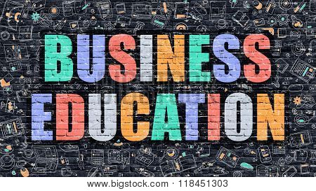 Business Education in Multicolor. Doodle Design.