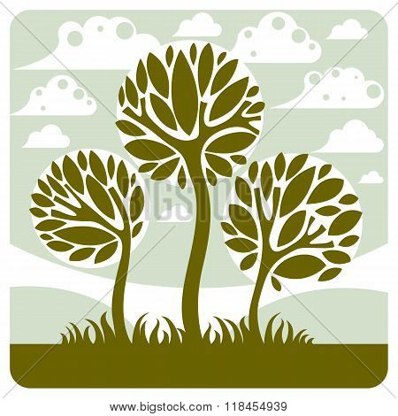 Fantasy Landscape With Stylized Tree, Peaceful Scene. Season Theme Vector Illustration, Ecology Idea