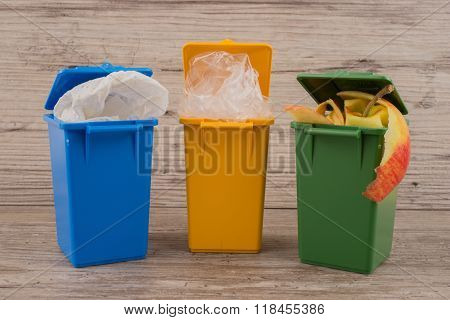 Set of recycle garbage bins