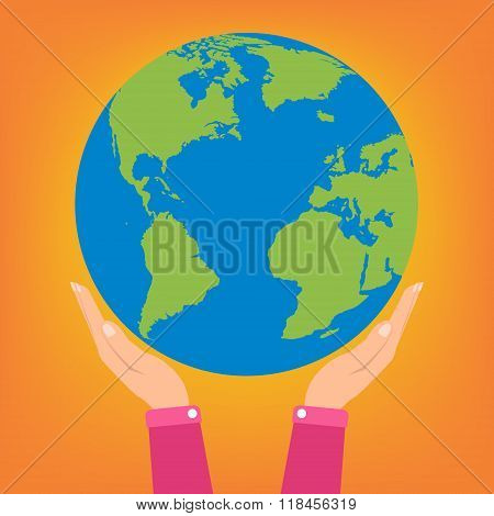 Woman Two Hands Holding Globe Earth On Orange Background. Vector Illustration  Love And Save Earth C
