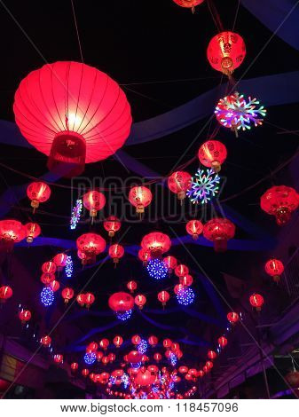 Chinese Red Lanterns Hanging In Street At Night During The Chinese New Year, Thailand.