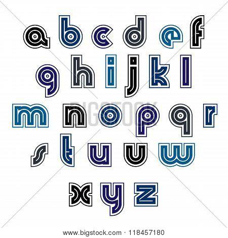 Regular Stylish Contrast Font. Distinct Dark Lower Case Letters Set. Vector Calligraphic Small Chara