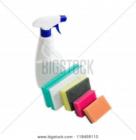 Various Cleaning Sponges And Spray Bottle Of Cleaning Agent