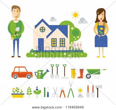 Garden and Orchard.  Vector Flat Illustration, Icon Set