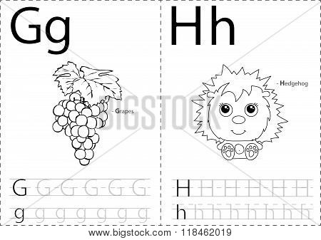 Cartoon Grapes And Hedgehog. Alphabet Tracing Worksheet: Writing A-z And Educational Game For Kids