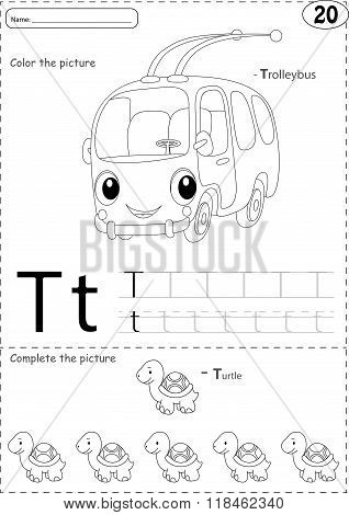 Cartoon Trolleybus And Turtle. Alphabet Tracing Worksheet: Writing A-z And Educational Game For Kids