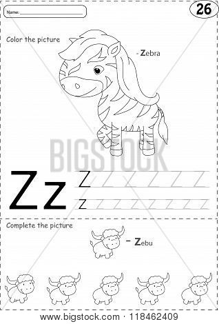 Cartoon Zebra And Zebu. Alphabet Tracing Worksheet: Writing A-z And Educational Game For Kids