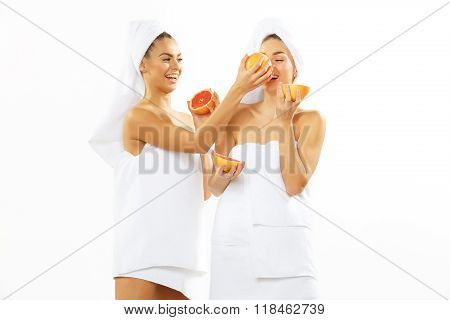 Two happy teen girl after shower
