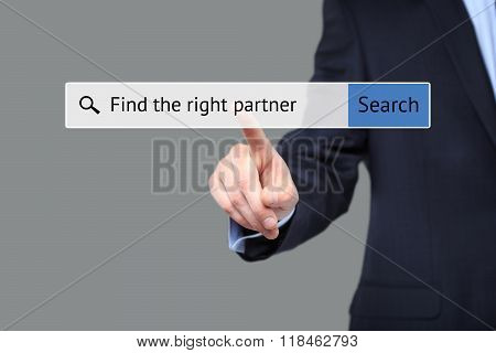 man presses button - find the right partner.